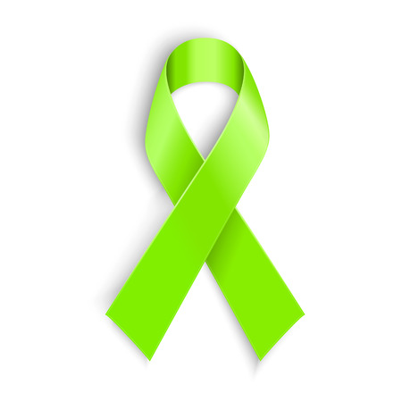 Lime Awareness Ribbon in white background. Vector illustration