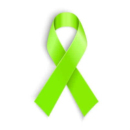 Lime Awareness Ribbon In White Background Vector Illustration