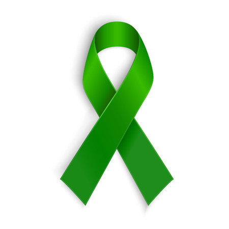 illness: Green ribbon. Scoliosis Mental health and other awareness symbol. Vector illustration Illustration