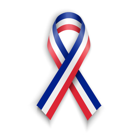 french flag: France flag . Abstract French ribbons isolated on white vector illustration