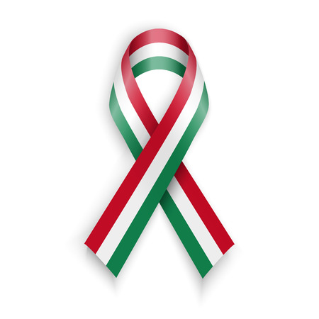 hungarian: Flag of Hungary. Abstract hungarian ribbons isolated on white vector illustration