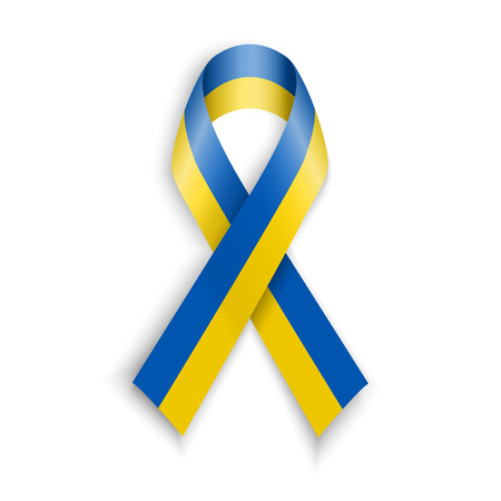 ukranian: Yellow blue colors of the national flag of Ukraine. Support or patriotic ukranian ribbon