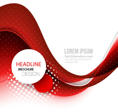 Vector Abstract red curved lines background. Template brochure design