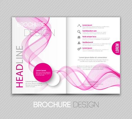 pink background: Vector illustration template leaflet design with color lines Illustration