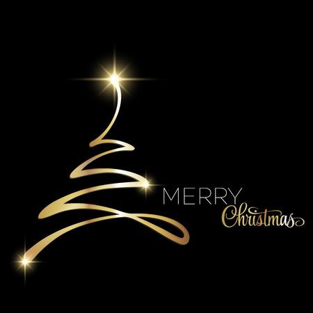 Merry Christmas tree greeting card. Paper design. Vector illustration. EPS 10 Illustration