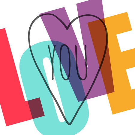 I love you. Simple retro greeting card. Vector illustration