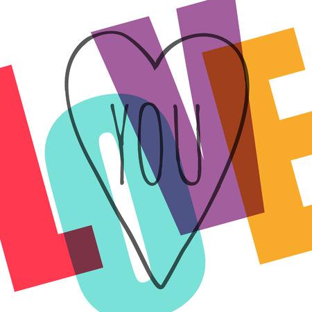 Ich liebe dich. Einfache retro Grußkarte. Vektor-Illustration Standard-Bild - 42844624