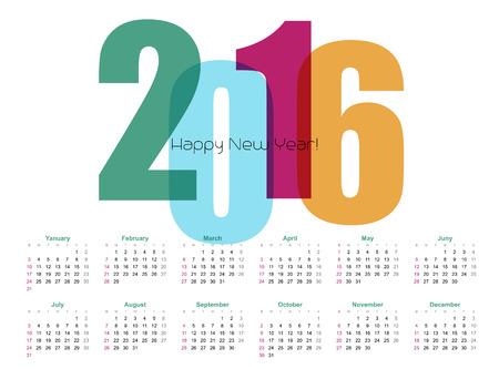 calendario: 2016 A�o Calendario. Ilustraci�n del vector. EPS 10