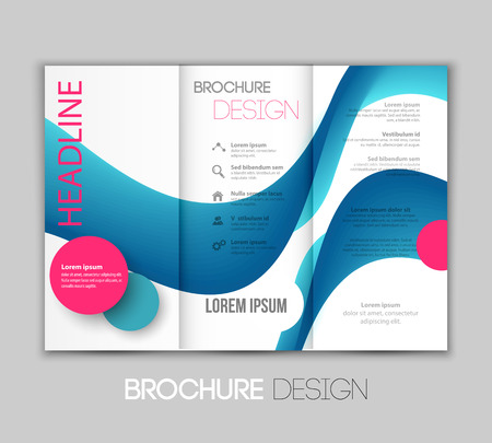leaflet design: Vector illustration template leaflet design with blue color lines
