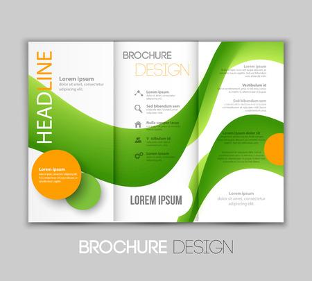 leaflet design: Vector illustration template leaflet design with green color lines Illustration