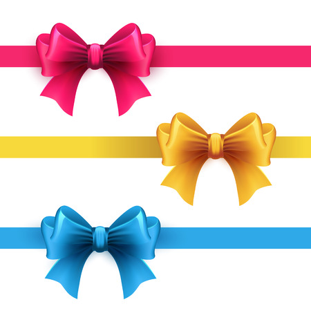 ribbons and bows: Set of gift bows with ribbons. Pink, gold and blue color