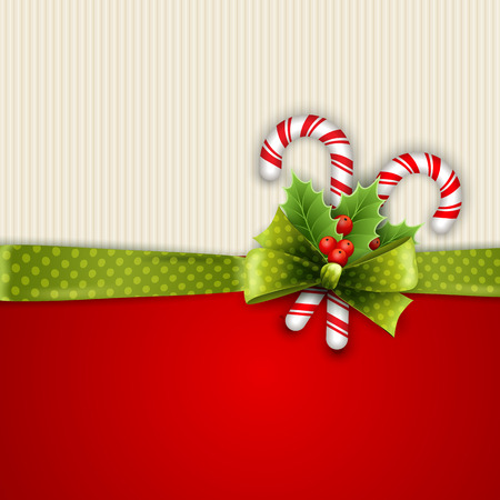 christmas element: Holiday background with green polka dots ribbon and bow