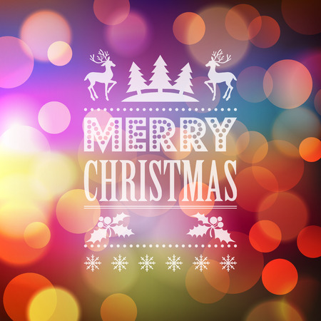 decoration lights: Christmas light vector background.  Typographic poster. EPS 10