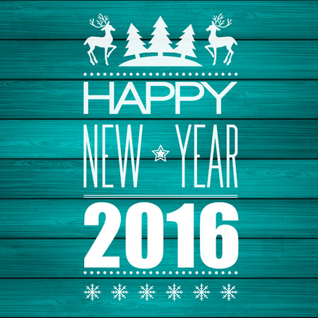 new years: Christmas Greeting On Wooden Planks Texture. Vector illustration