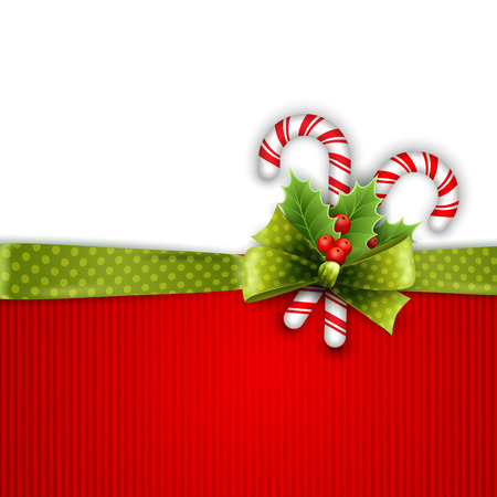 christmas candy: Christmas decoration with holly leaves, bow  and candy Illustration