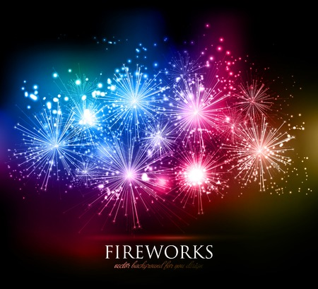 Vector abstract Holiday Fireworks Background for your design  イラスト・ベクター素材
