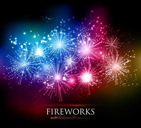 fireworks: Resumen de vectores de fuegos artificiales de vacaciones de fondo para su dise�o
