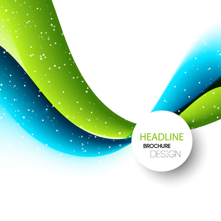 blue lines: Vector Abstract blue and green curved lines background. Template brochure design