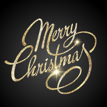 letras de oro: Feliz Navidad diseño de letras. Ilustración del vector. Vectores