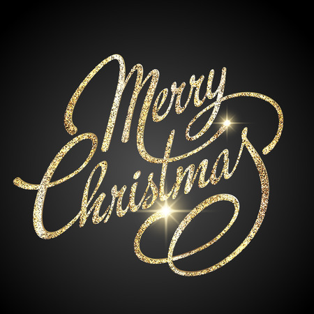 gold banner: Merry Christmas Lettering Design. Vector illustration.