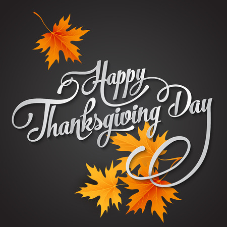 Happy Thanksgiving lettering. Vector background.  Ilustrace