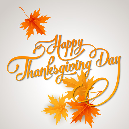 Happy Thanksgiving lettering. Vector background.