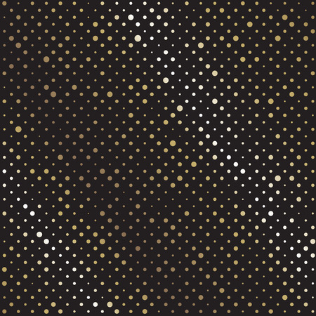 Vector Abstract black background with golden circle. Polka dot pattern