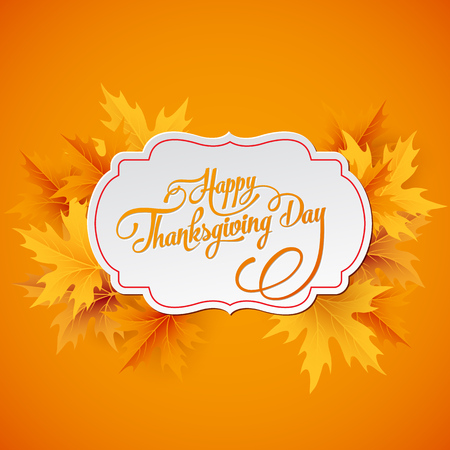 thanksgiving leaves: Happy Thanksgiving lettering. Vector background