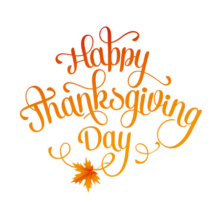 type: Happy Thanksgiving lettering. Vector background.