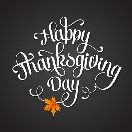 feliz: Letras de Acción de Gracias feliz. Vector de fondo.