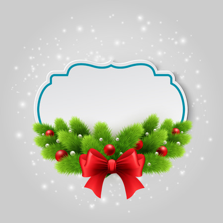 christmas bow: Christmas paper card. Winter background with spruce twigs. Vector illustration.