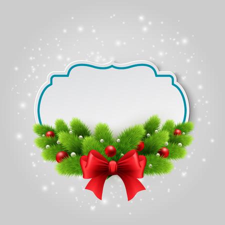 marcos redondos: Tarjeta de papel de Navidad. Fondo del invierno con ramas de abeto. Ilustraci�n del vector.