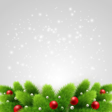 new year frame: Winter background with green pine branch and baubles. Christmas  tree decoration. Vector illustration.