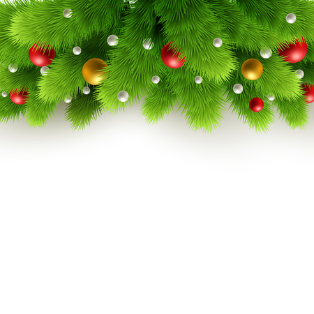decoration    design: Winter background with isolated pine branch and baubles. Christmas  tree decoration. Vector illustration.