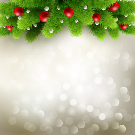 pine decoration: Winter background with green pine branch and baubles. Christmas  tree decoration. Vector illustration.