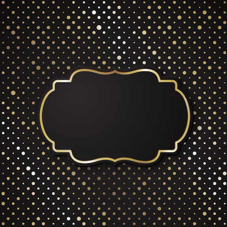 shiny black: Vector stylish black polka dot background with vintage paper card Illustration
