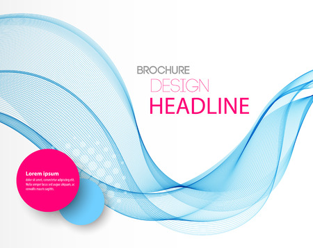 wave backdrop: Vector Abstract blue curved lines background. Template brochure design Illustration