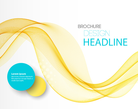 Vector Abstract yellow curved lines background. Template brochure design