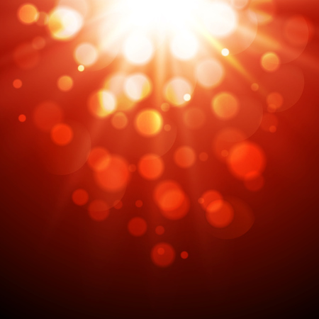 a glamour: Vector  illustration Abstract red magic light background with bokeh effect