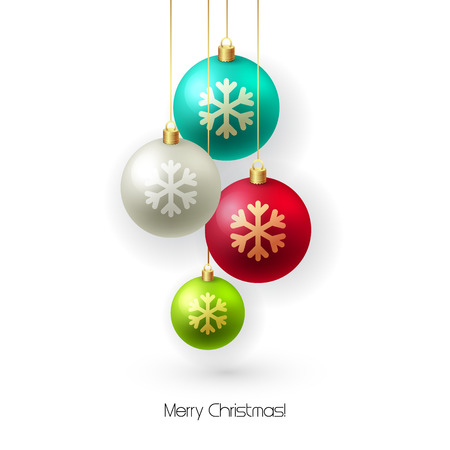 red christmas background: Christmas card with baubles. Christmas  tree decoration. Vector illustration.