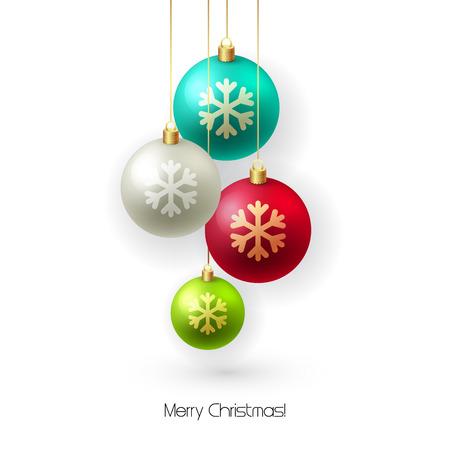 Kartki świąteczne z bombkami. Choinka dekoracji. ilustracji wektorowych.
