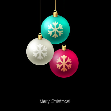 christmas tree ornaments: Christmas card with baubles. Christmas  tree decoration. Vector illustration.