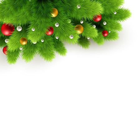 branch isolated: Winter background with isolated pine branch and baubles. Christmas  tree decoration. Vector illustration.