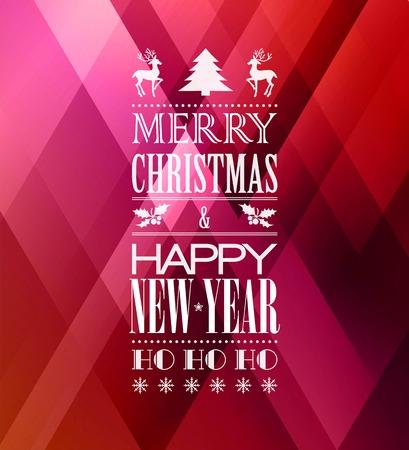 navidad elegante: Tipografía Feliz cartel de la Navidad con el árbol de Navidad Vectores