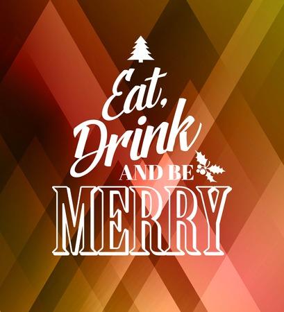 essen: Frohe Weihnachten Typografie Plakat mit Weihnachtsbaum