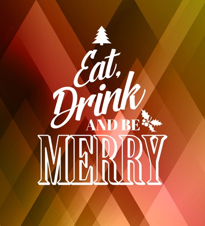 eten: Merry christmas typografie poster met kerstboom Stock Illustratie