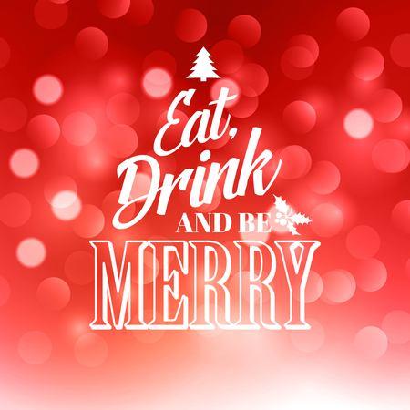 eat: Christmas  text  design on bokeh background. Illustration