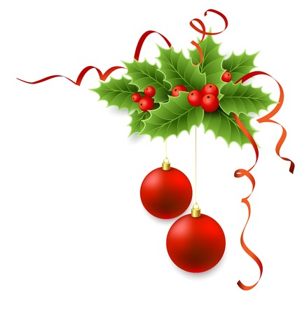 decoration: Christmas holly with berries and red ball. Illustration