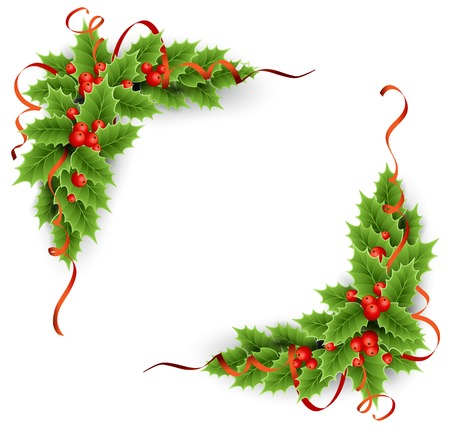evergreen holly with berries. Christmas decoration