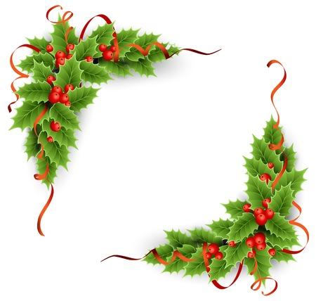 moños navideños: árbol de hoja perenne con bayas de acebo. Decoración navideña Vectores